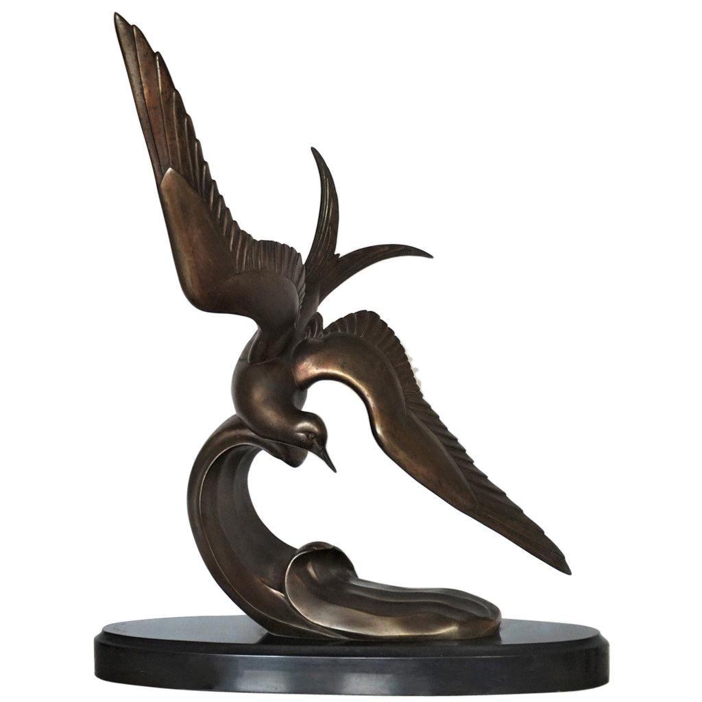 """Art Deco Bronze Sculpture """"Tern in Filight"""" by Irenee Rochard, circa 1935-1938"""