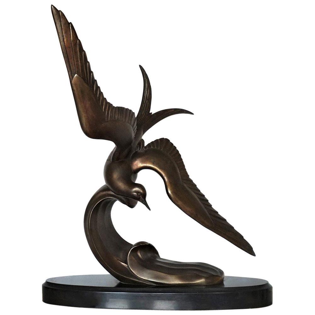 """Art Deco Bronze Sculpture """"Tern in Flight"""" by Irenee Rochard, circa 1935-1938"""