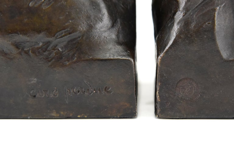Art Deco Bronze Sculpture Terrier Dog Bust Bookends Maximilien Louis Fiot, 1920 4