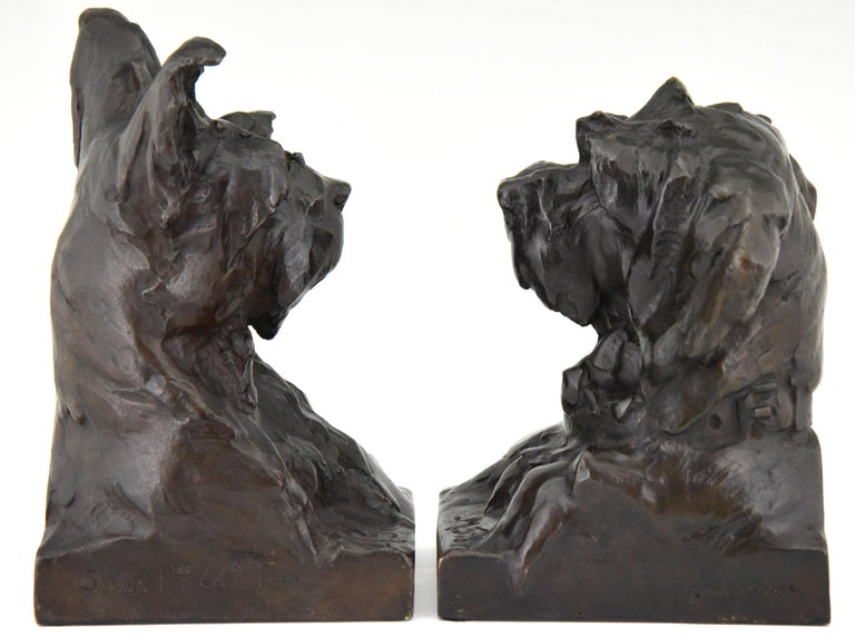 French Art Deco Bronze Sculpture Terrier Dog Bust Bookends Maximilien Louis Fiot, 1920