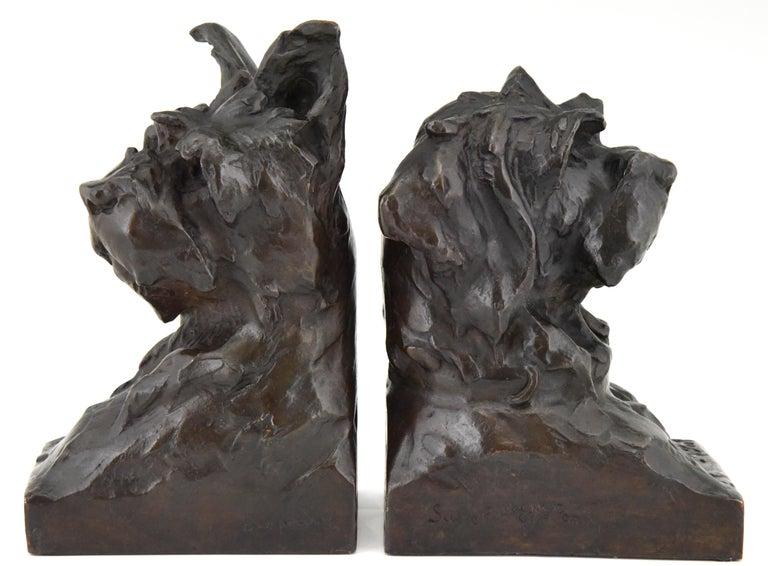 Art Deco Bronze Sculpture Terrier Dog Bust Bookends Maximilien Louis Fiot, 1920 In Good Condition In Antwerp, BE