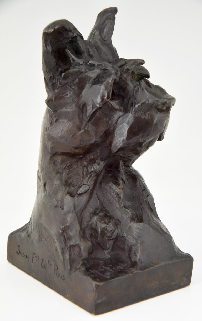 Early 20th Century Art Deco Bronze Sculpture Terrier Dog Bust Bookends Maximilien Louis Fiot, 1920