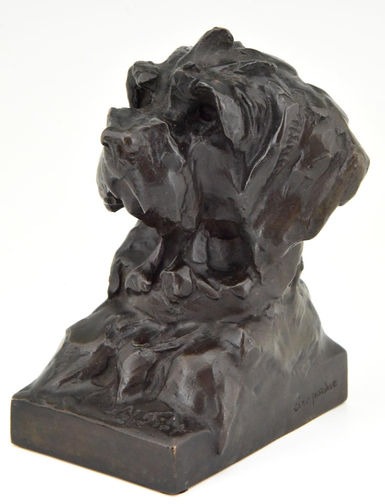 Art Deco Bronze Sculpture Terrier Dog Bust Bookends Maximilien Louis Fiot, 1920 1