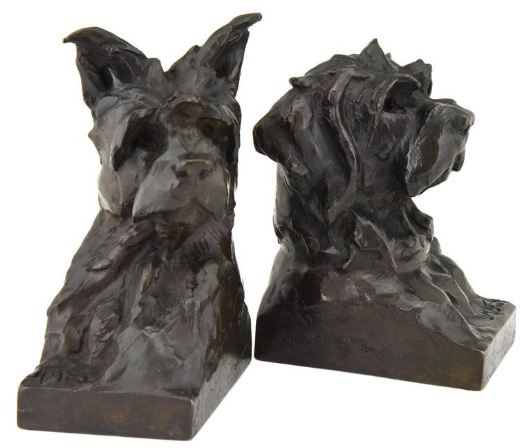 Art Deco Bronze Sculpture Terrier Dog Bust Bookends Maximilien Louis Fiot, 1920 2