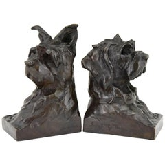Art Deco Bronze Sculpture Terrier Dog Bust Bookends Maximilien Louis Fiot, 1920