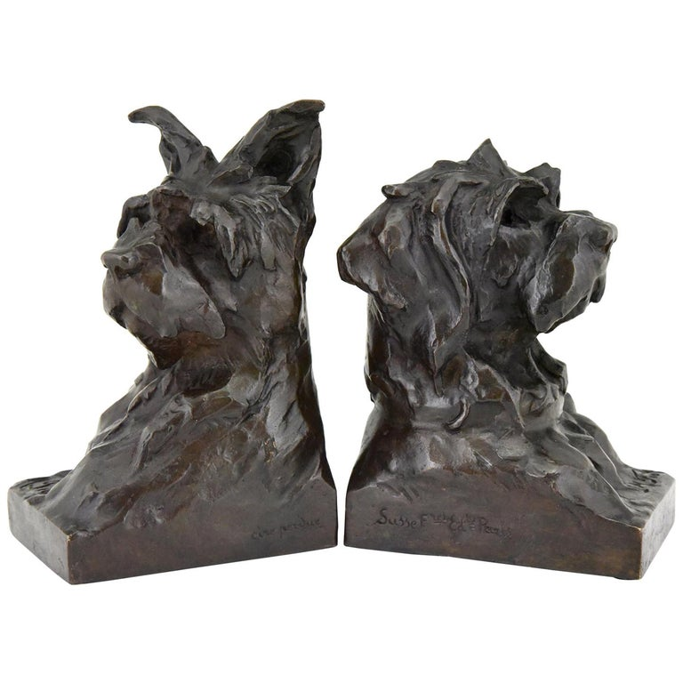 Art Deco Bronze Sculpture Terrier Dog Bust Bookends Maximilien Louis Fiot, 1920