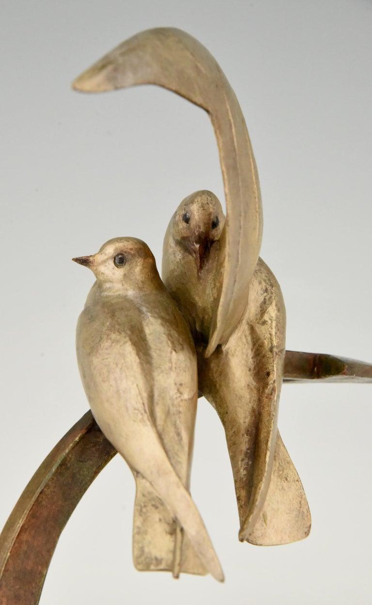 Art Deco Bronze Sculpture Two Birds on an Ancre Andre Vincent Becquerel, 1925 For Sale 4