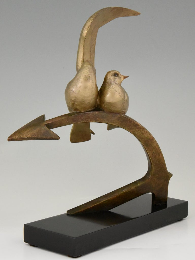 French Art Deco Bronze Sculpture Two Birds on an Ancre Andre Vincent Becquerel, 1925 For Sale