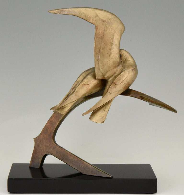 Art Deco Bronze Sculpture Two Birds on an Ancre Andre Vincent Becquerel, 1925 In Good Condition For Sale In Antwerp, BE