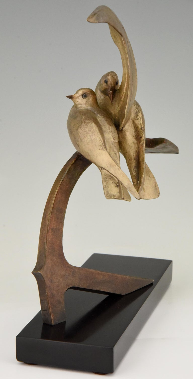 Early 20th Century Art Deco Bronze Sculpture Two Birds on an Ancre Andre Vincent Becquerel, 1925 For Sale