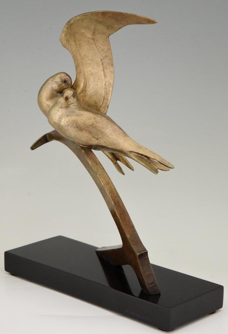 Art Deco Bronze Sculpture Two Birds on an Ancre Andre Vincent Becquerel, 1925 For Sale 1