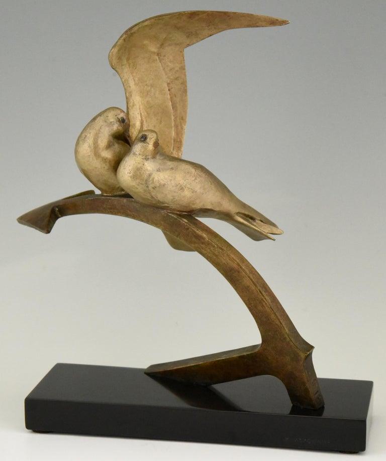 Art Deco Bronze Sculpture Two Birds on an Ancre Andre Vincent Becquerel, 1925 For Sale 2
