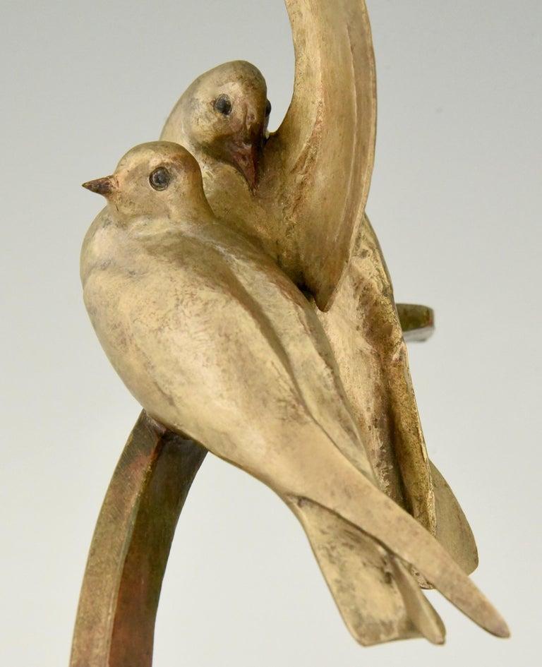 Art Deco Bronze Sculpture Two Birds on an Ancre Andre Vincent Becquerel, 1925 For Sale 3