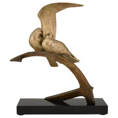 Art Deco Bronze Sculpture Two Birds on an Ancre Andre Vincent Becquerel, 1925