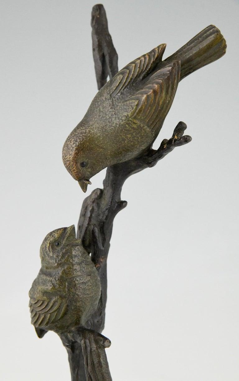 Art Deco Bronze Sculpture Two Birds on an Branch Irenee Rochard, France, 1930 For Sale 4