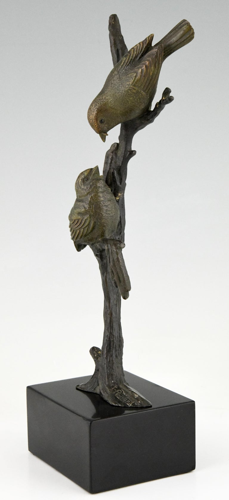 French Art Deco Bronze Sculpture Two Birds on an Branch Irenee Rochard, France, 1930 For Sale