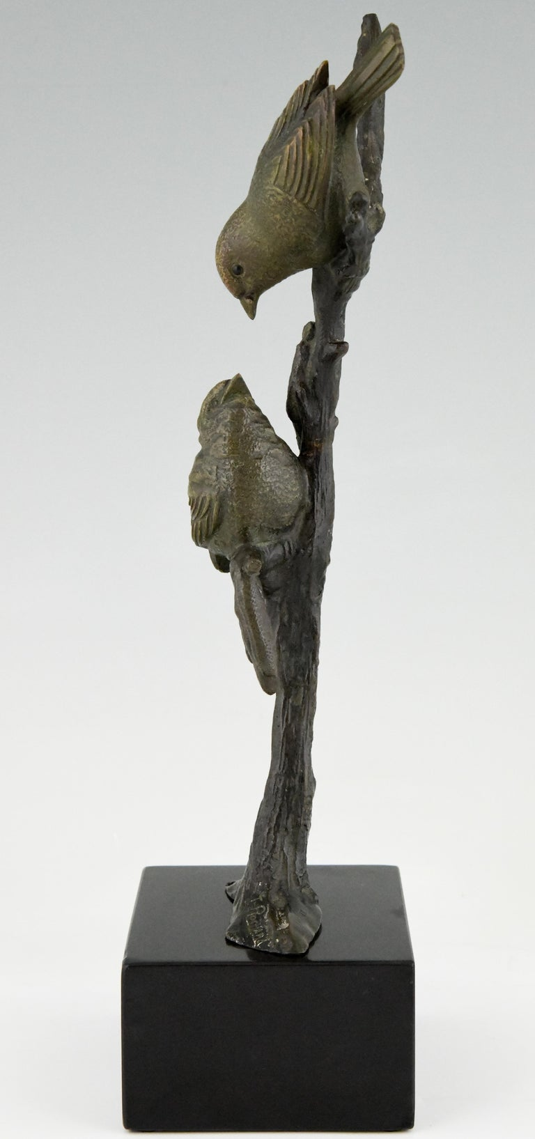Patinated Art Deco Bronze Sculpture Two Birds on an Branch Irenee Rochard, France, 1930 For Sale