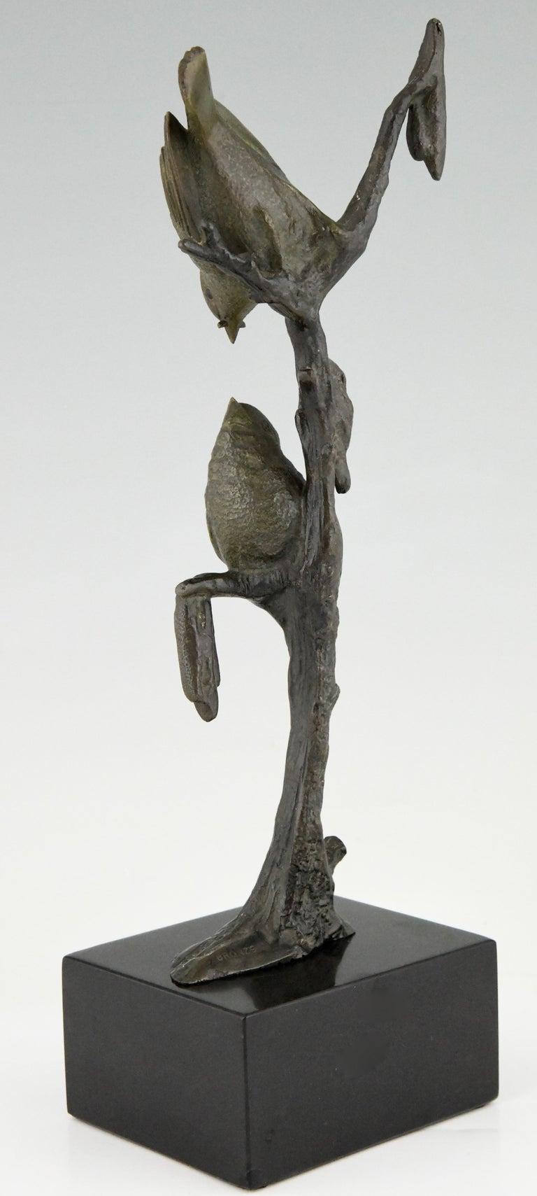 Art Deco Bronze Sculpture Two Birds on an Branch Irenee Rochard, France, 1930 In Good Condition For Sale In Antwerp, BE