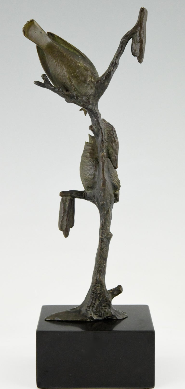 Mid-20th Century Art Deco Bronze Sculpture Two Birds on an Branch Irenee Rochard, France, 1930 For Sale