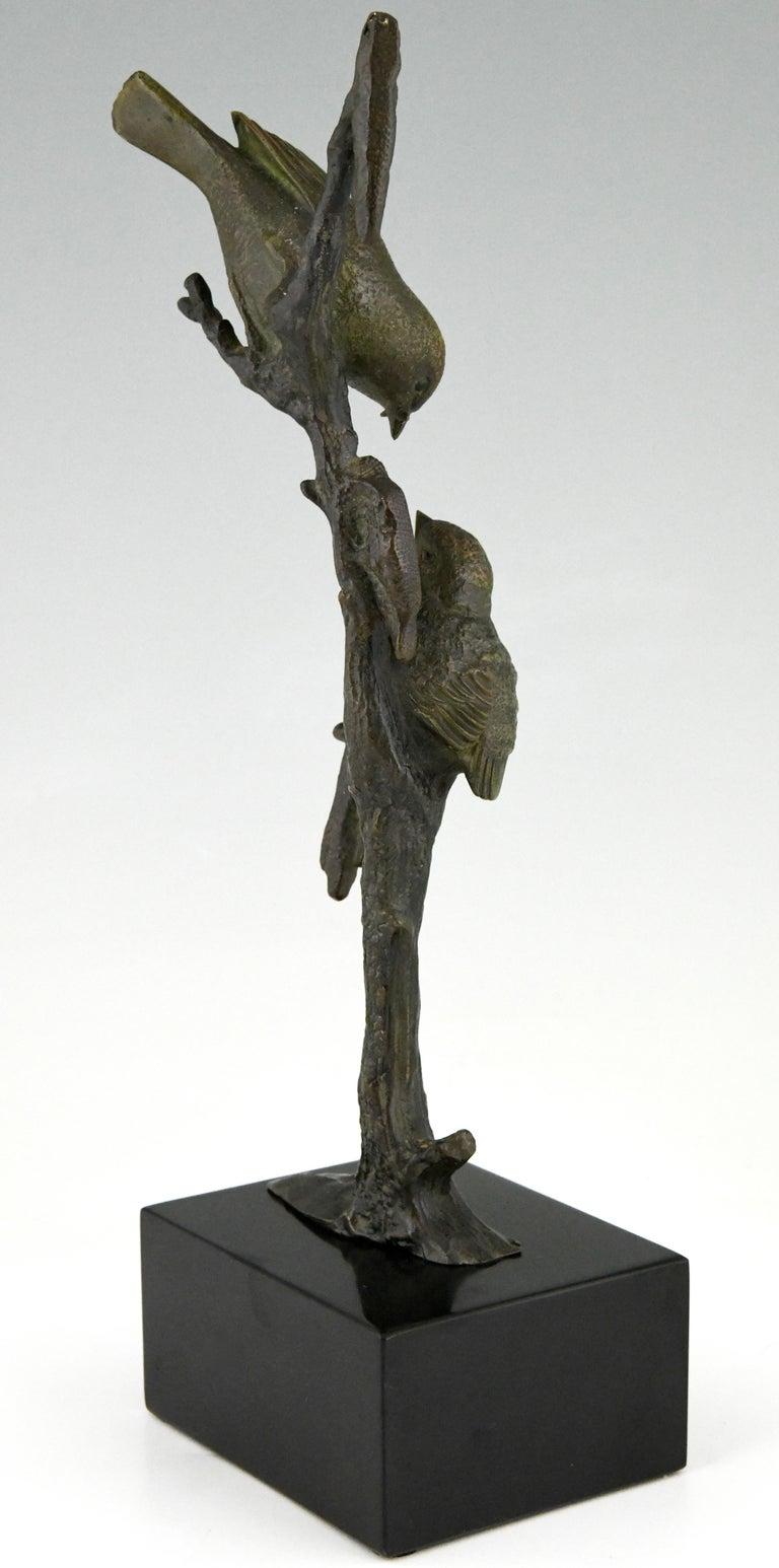Art Deco Bronze Sculpture Two Birds on an Branch Irenee Rochard, France, 1930 For Sale 1