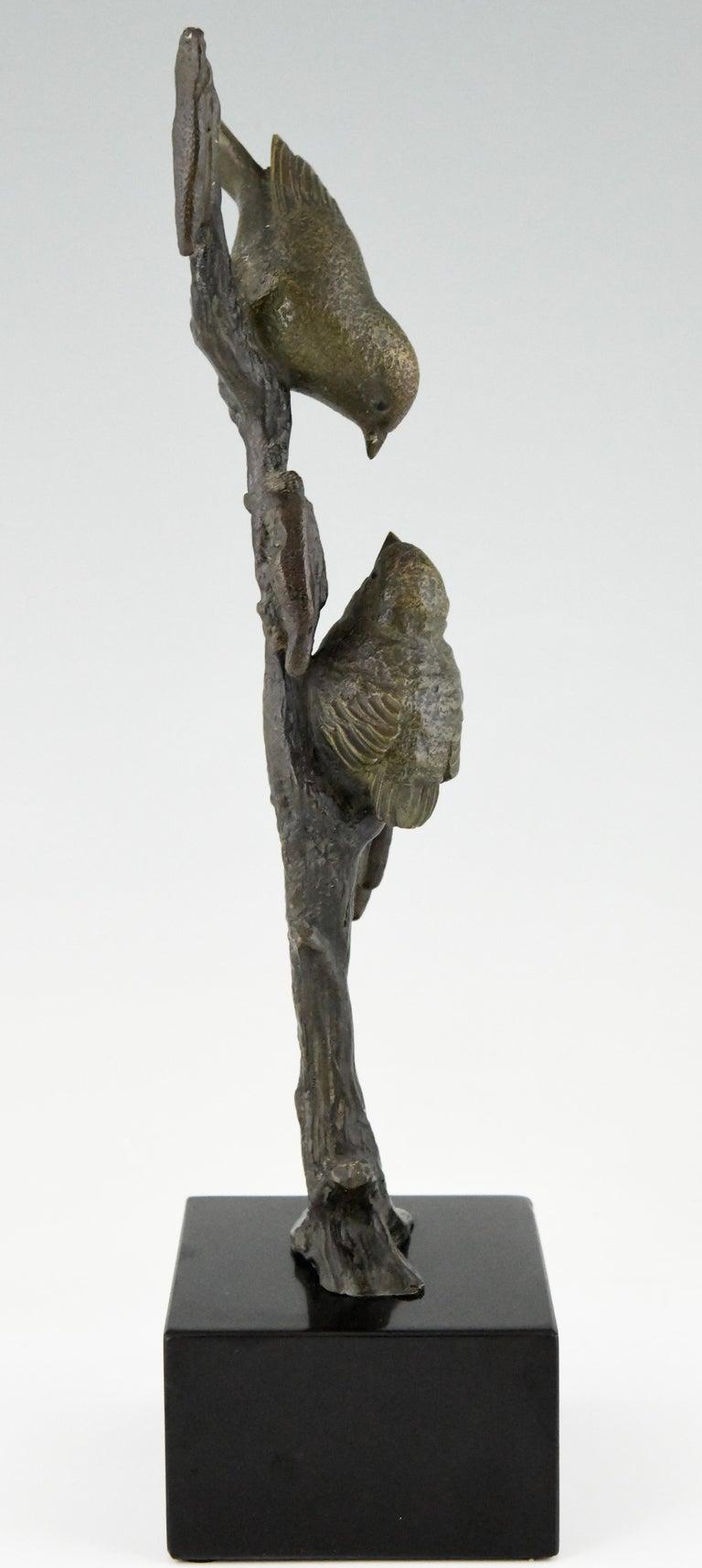 Art Deco Bronze Sculpture Two Birds on an Branch Irenee Rochard, France, 1930 For Sale 2