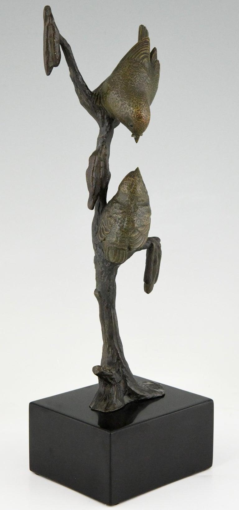 Art Deco Bronze Sculpture Two Birds on an Branch Irenee Rochard, France, 1930 For Sale 3