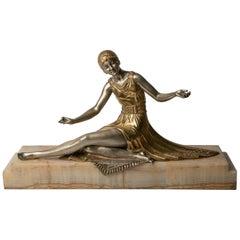 Art Deco Bronze 'Seated Woman' Artist Joe Descomps