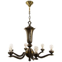 Art Deco Bronze Six-Light Chandelier, 1920s