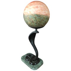 Art Deco Bronze Snake / Cobra Table Lamp with Round Globe