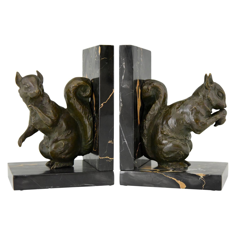 Art Deco Bronze Squirrel Bookends Rene Papa, 1930
