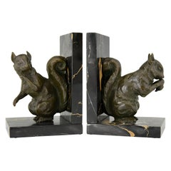 Art Deco Bronze Squirrel Bookends Rene Papa, 1930