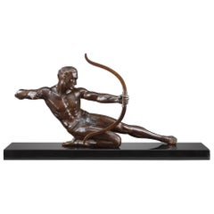 Art Deco Bronze Statue Archer