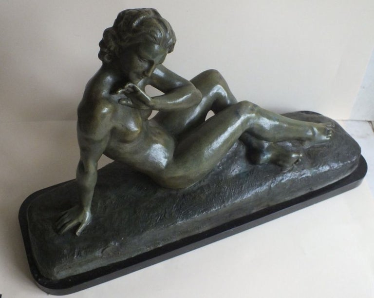 French Art Deco Bronze Statue, France 1930s Classic Nude by Cipriani For Sale