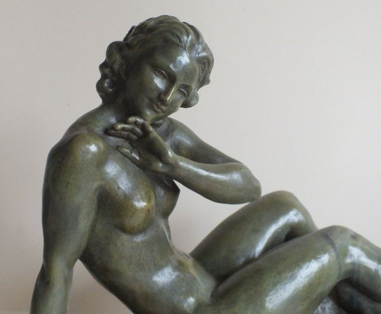 Art Deco Bronze Statue, France 1930s Classic Nude by Cipriani In Good Condition For Sale In Oakland, CA