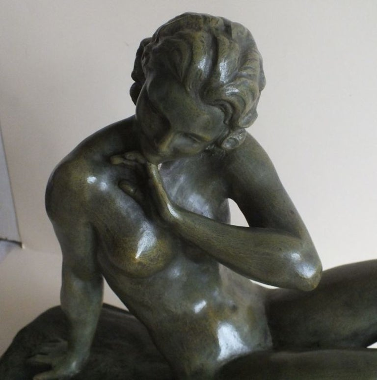 Mid-20th Century Art Deco Bronze Statue, France 1930s Classic Nude by Cipriani For Sale