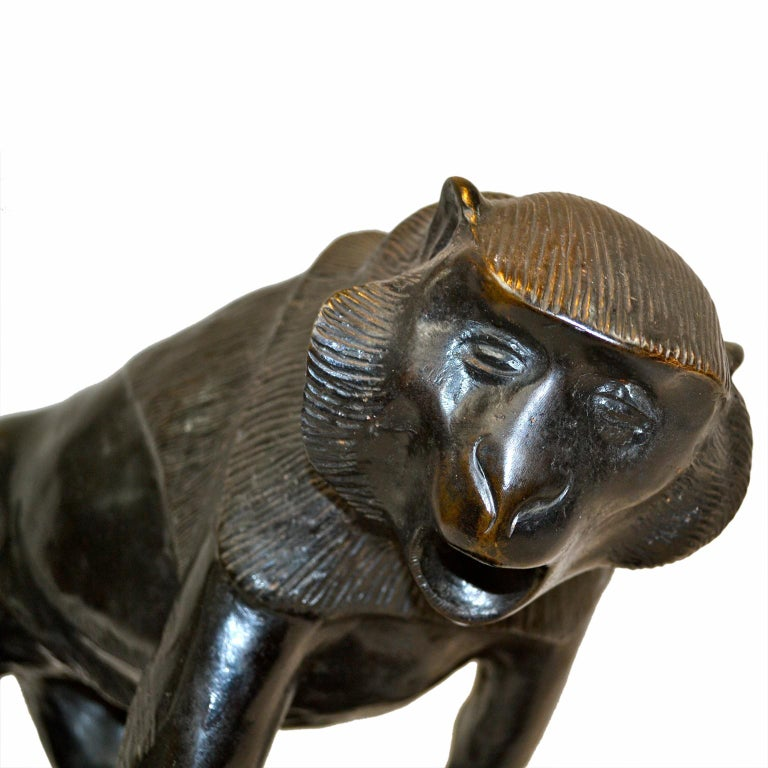 Cast Art Deco Bronze Statue of a Baboon by Renowned Italian Sculptor Sirio Tofanari For Sale