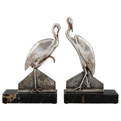 Art Deco Bronze Stork Bird Bookends Danvin, France, 1930