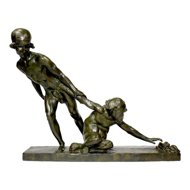 """Art-Deco Bronze """"The Forbidden Fruits"""" Girl & Chimpanzee after Jean Verschneider For Sale"""