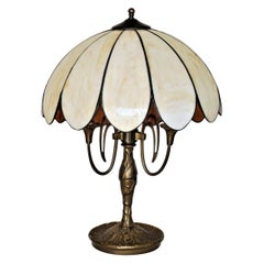 Art Deco Bronze Three-Light Table Lamp with Bent Slag Glass Shade, 1910-1920