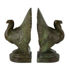 Art Deco Bronze Turkey Bookends by Claude, France, 1925