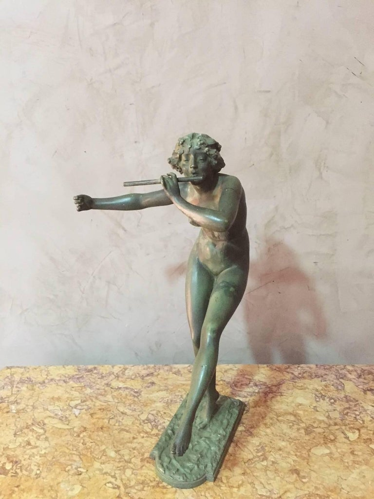 1902-1914 Art Deco flute dancer woman bronze with green patina signed by the French sculptor Paul Philippe (1870-1930).