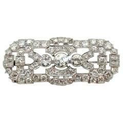 Art Deco Brooch 950 Platinum with Diamonds 7.0 Carat Vienna, circa 1920