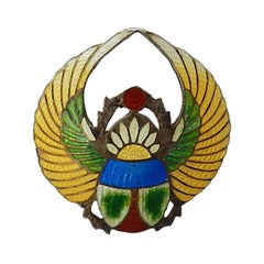 Art Deco Brooch by Charles Horner Scarab Pin Silver Guilloche Enamel, circa 1920