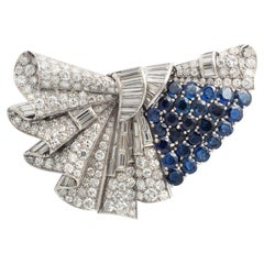 Art Deco Brooch Double Clip Sapphire Diamond