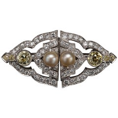 Art Deco Brooch & Dress Clips Natural Pearl & Fancy Yellow Diamond GIA Certified