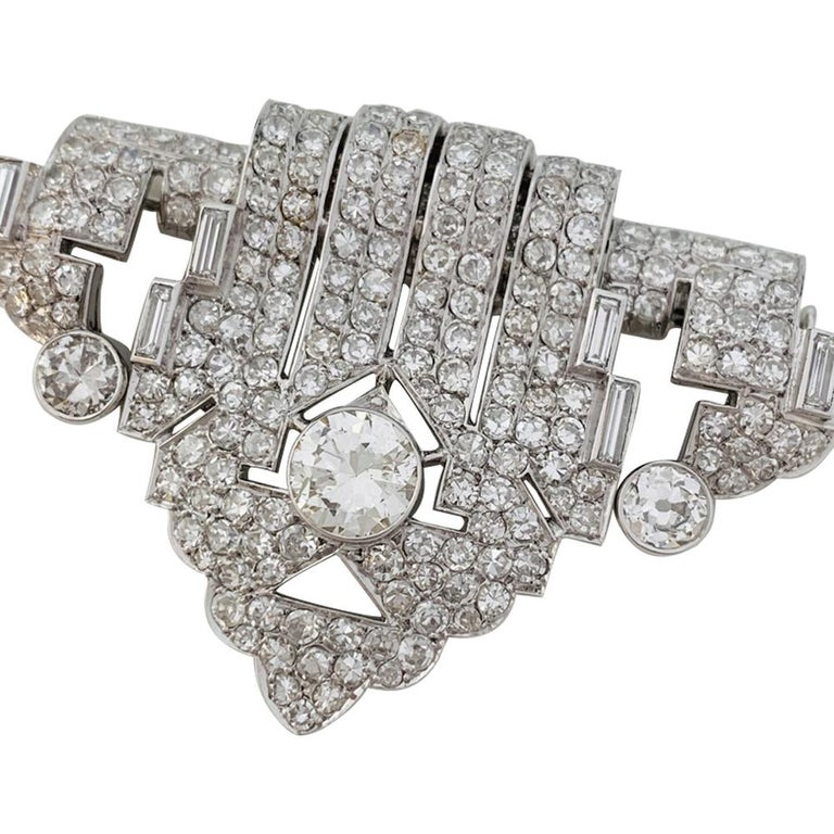 Women's or Men's Art Deco Brooch, Platinum and White Gold and Diamonds For Sale