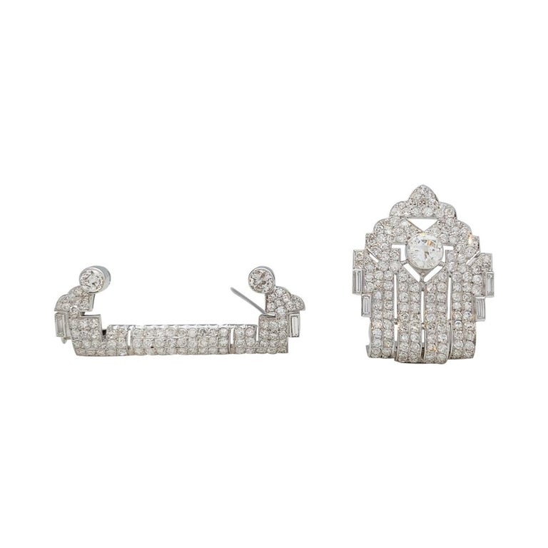 Art Deco Brooch, Platinum and White Gold and Diamonds For Sale 2