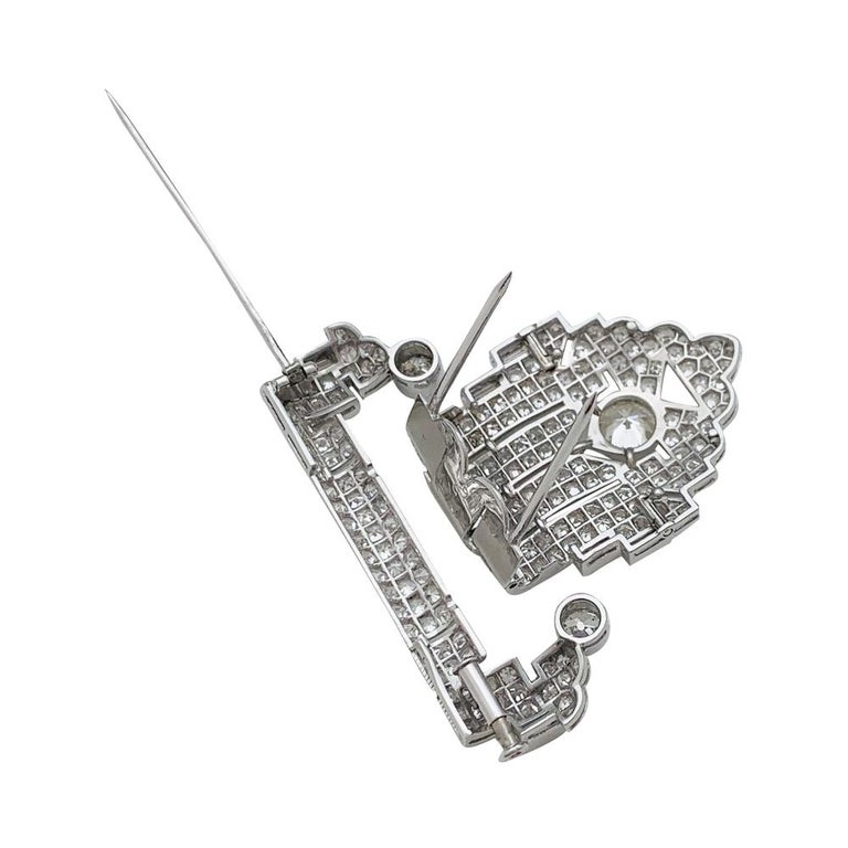 Art Deco Brooch, Platinum and White Gold and Diamonds For Sale 3