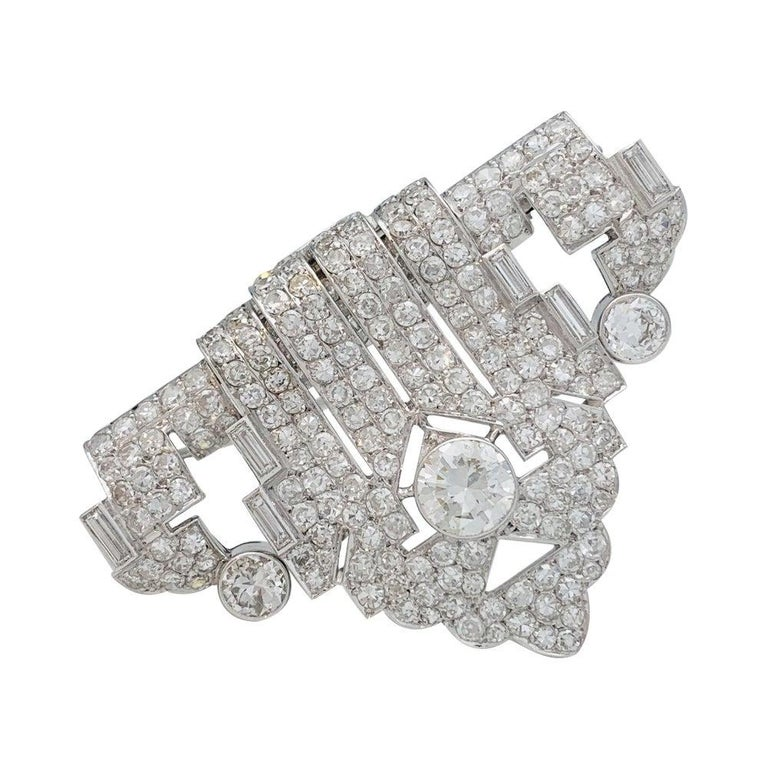 Art Deco Brooch, Platinum and White Gold and Diamonds For Sale