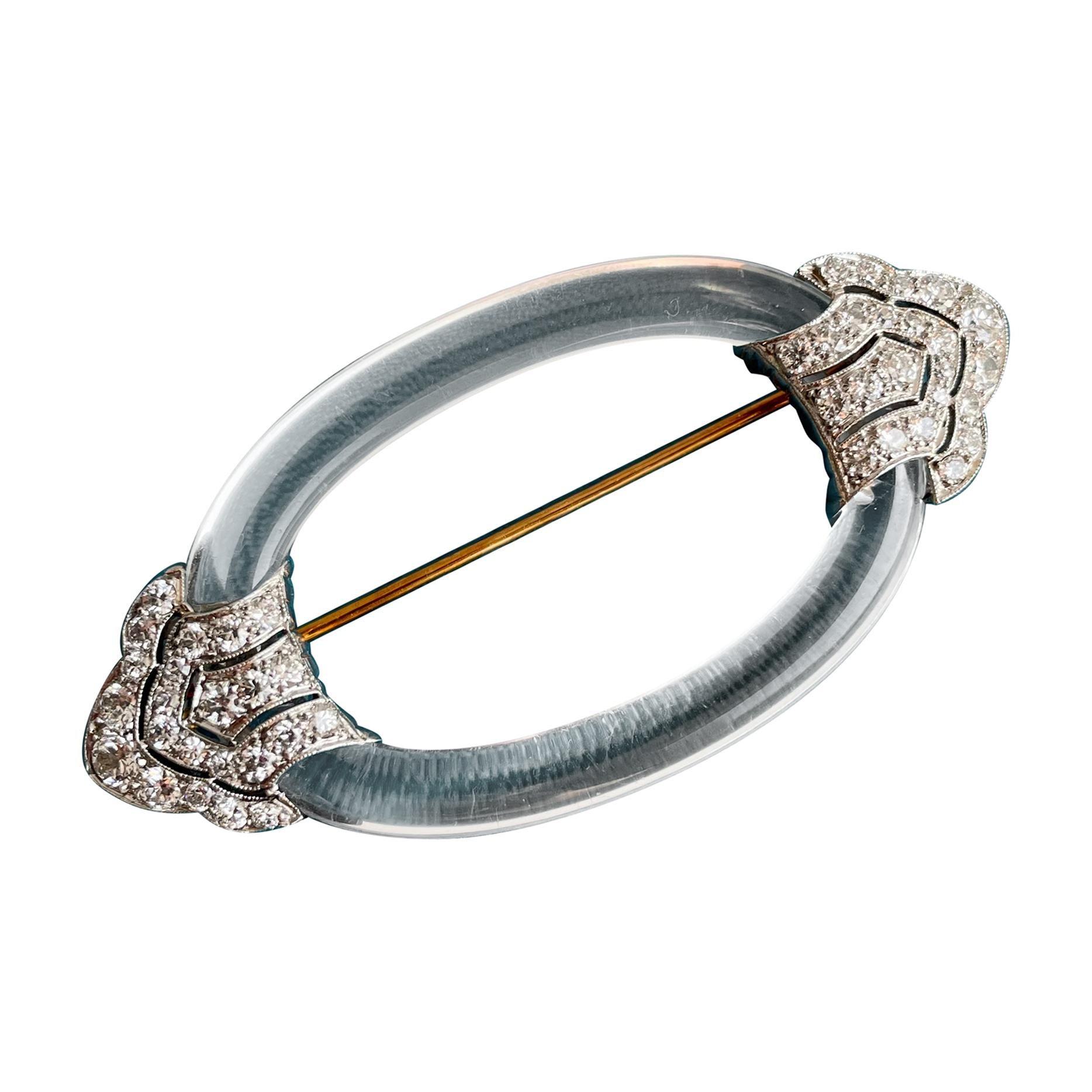 Art Deco Brooch Rock Crystal Diamond Platinum Brooch